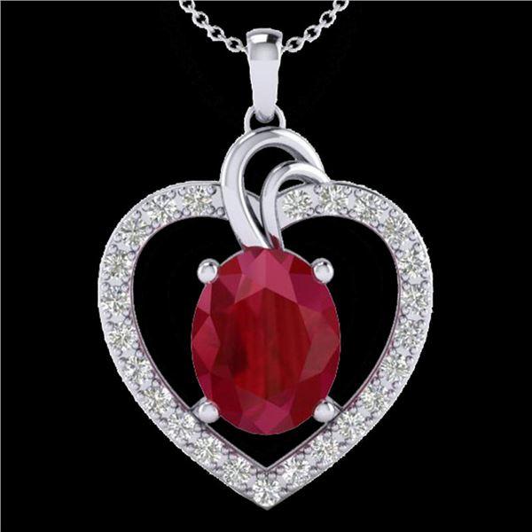 4 ctw Ruby & VS/SI Diamond Designer Heart Necklace 14k White Gold - REF-81M8G