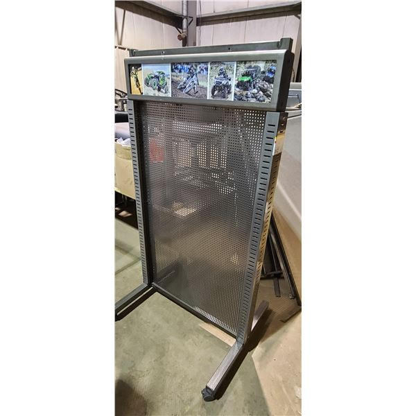2 PEG BOARD DISPLAY STANDS ON WHEELS LOCATED IN FORT MCMURRAY