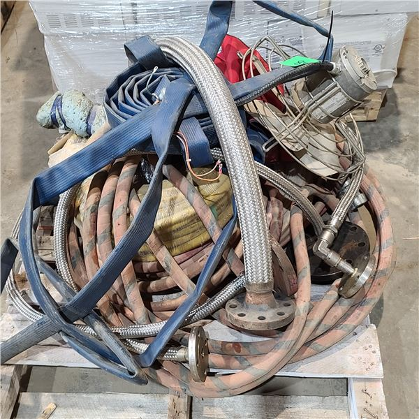 SKID OF ASSORTED WATER, AIR HOSE, FAN, AND MOTOR LOCATED IN FORT MCMURRAY