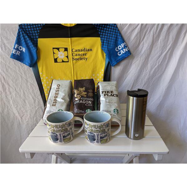 STARBUCKS 3 BAGS OF COFFEE AND 2 MUGS AND 1 TRAVEL MUG: TOTAL VALUE $90