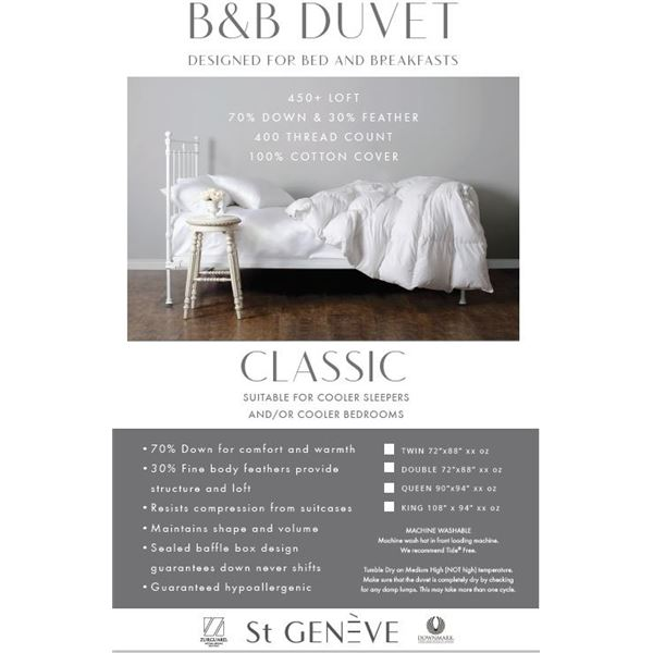 QUEEN SIZE CLASSIC DUVET BY ST. GENEVE: TOTAL VALUE $339