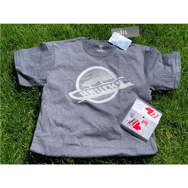 ADULT MEDIUM SIZED CANUCKS T-SHIRT AND $25 GIFT CARD. RETAIL VALUE: $60 CYCLONE TAYLOR SPORTS IS