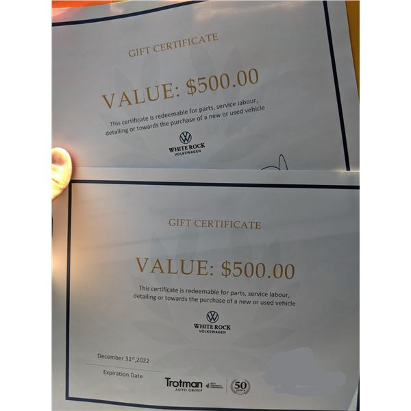 WHITEROCK VW $500 CERTIFICATE IS REDEEMABLE FOR PARTS, SERVICE LABOUR, DETAILING OR TOWARDS THE