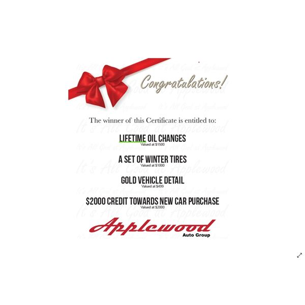 $5000 VALUED PACKAGE BY APPLEWOOD AUTO GROUP