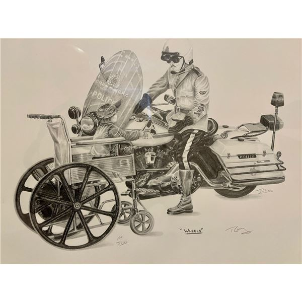 """""""WHEELS"""" - SKETCH OF A MOUNTIE ON MOTORCYCLE"""