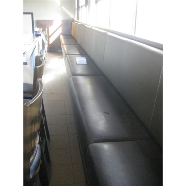 6 SECTIONS BOOTH SEATING AGAINST WALL 31 1/2 LINEAR FEET - BUYER MUST REMOVE