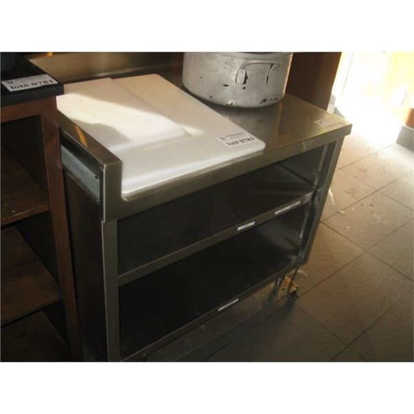 36 X 29 INCH STAINLESS TABLE WITH CORNER BACK SPLASH