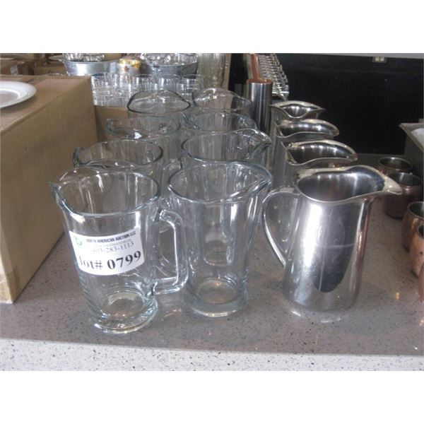 GLASS AND METAL PITCHERS