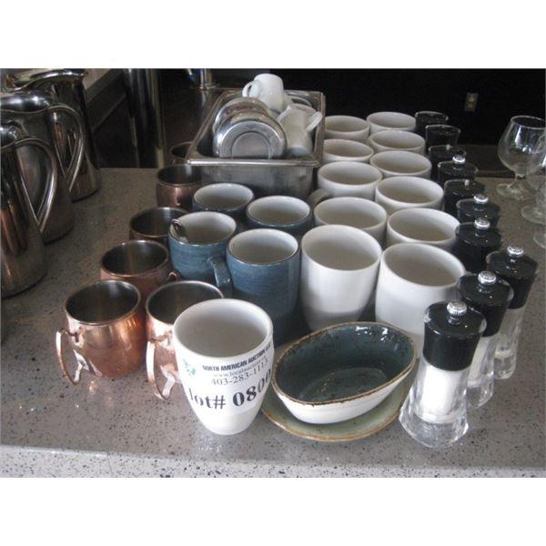 ASSORTED COFFEE WARES AND SALT GRINDERS