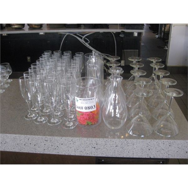 ASSORTED STEM AND OTHER GLASSWARE
