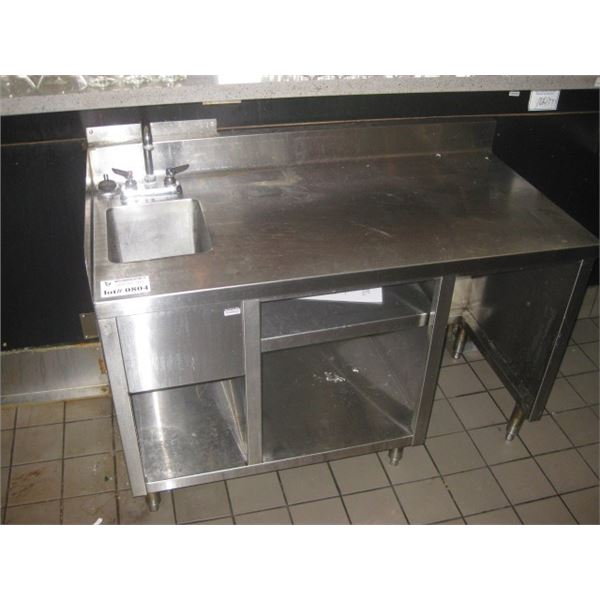 48 X 25 INCH STAINLESS TABLE CORNER BACK SPLASH WITH SINK