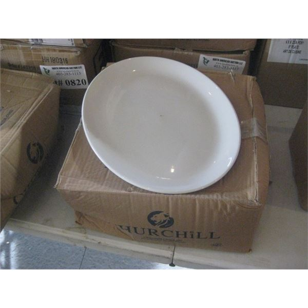 12PC CHURCHILL WHITE OVAL PLATE 13.25 INCH