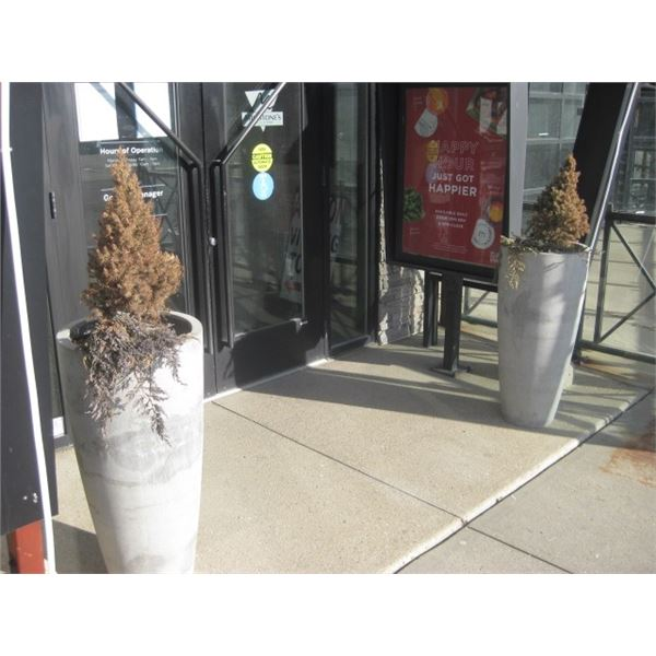 2PC 39 INCH TALL OUTDOOR PLANTERS USED CRACKED