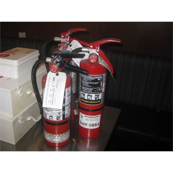 3 RED FIRE EXTINGUISHERS