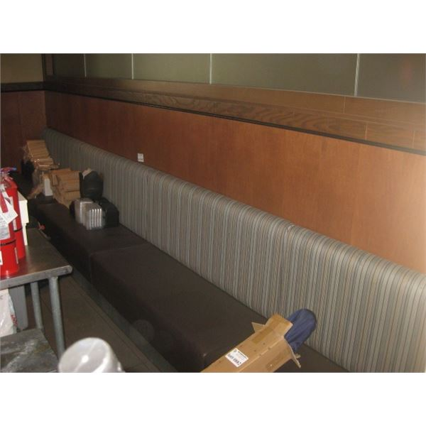 243 INCH WALL MOUNTED BOOTH BENCH SEATING - BUYER MUST REMOVE