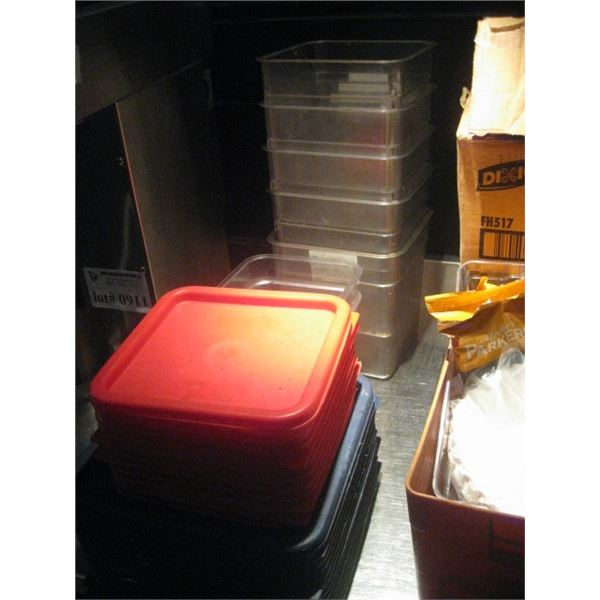 ASSORTED 7 CAMBRO INSERTS / 11 RED LIDS / 14 PC BLUE LIDS