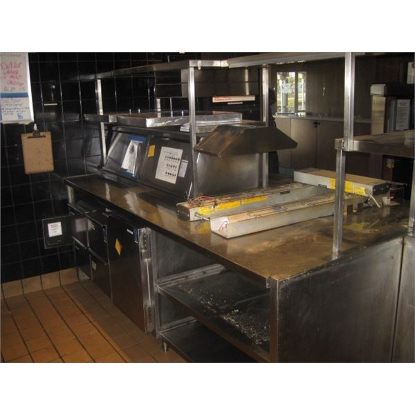 100 X 53 INCH DOUBLE SIDED PREP TABLE W/ OVERSHELF - DISCONNECTED REMOTE UNIT NO COMP