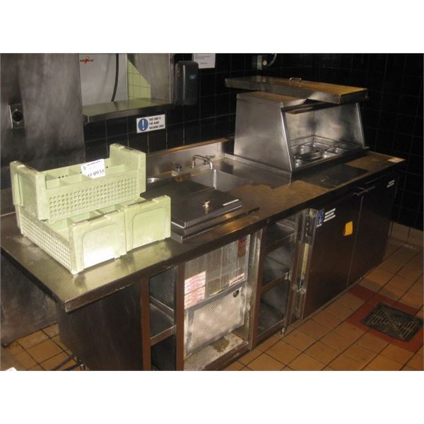95 X 30 INCHES PREP COUNTER - DISCONNECTED - REMOTE - NO COMPRESSOR