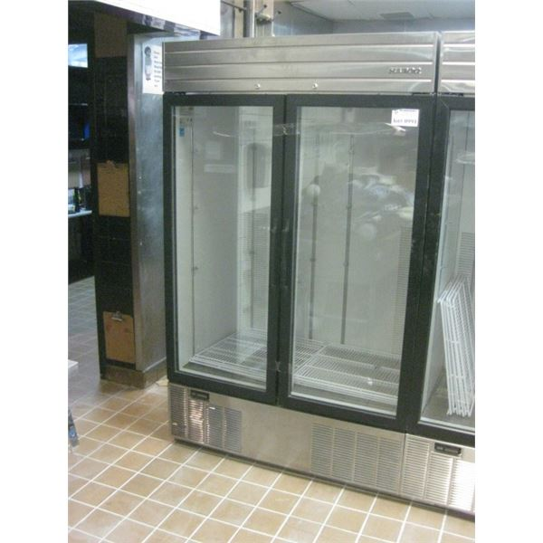 REPO DOUBLE DOOR STAINLESS / GLASS 2 DR COOLER 47 1/2 INCH