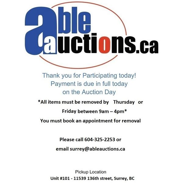 ALL ITEMS MUST BE REMOVED BY THURSDAY UNTIL 6PM & FRIDAY 9AM -4:00PM