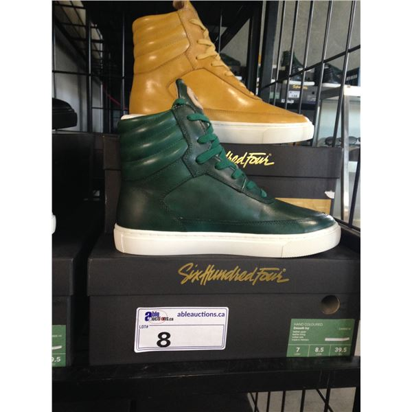 2 SIX HUNDRED FOUR LEATHER UNISEX SHOES SIZE 7 MEN'S IN SMOOTH MIMOSA & SMOOTH IVY $350 RETAIL