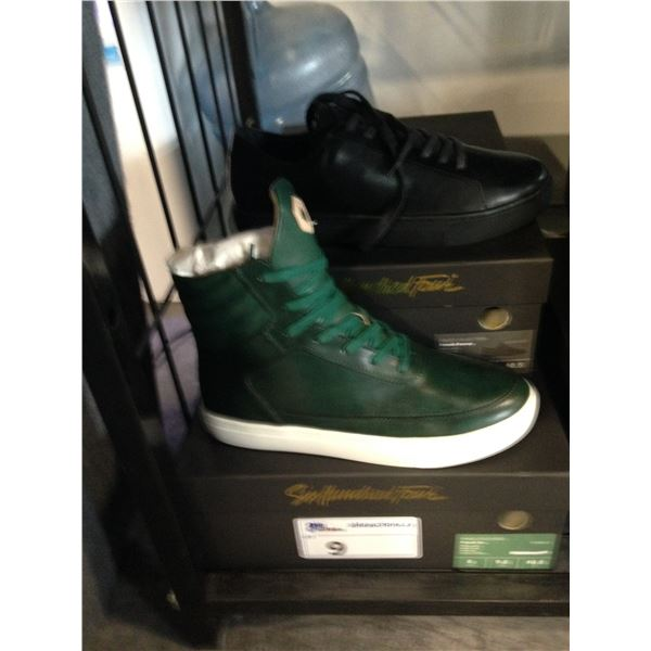 2 SIX HUNDRED FOUR LEATHER UNISEX SHOES SIZE 8 MEN'S IN SMOOTH IVY  & SMOOTH RUNWAY $300 AND $350