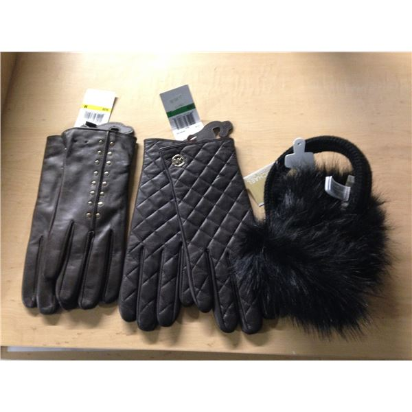 2 PAIRS OF MICHAEL KORS LEATHER GLOVES AND A PAIR OF MICHAEL KORS EAR MUFFS