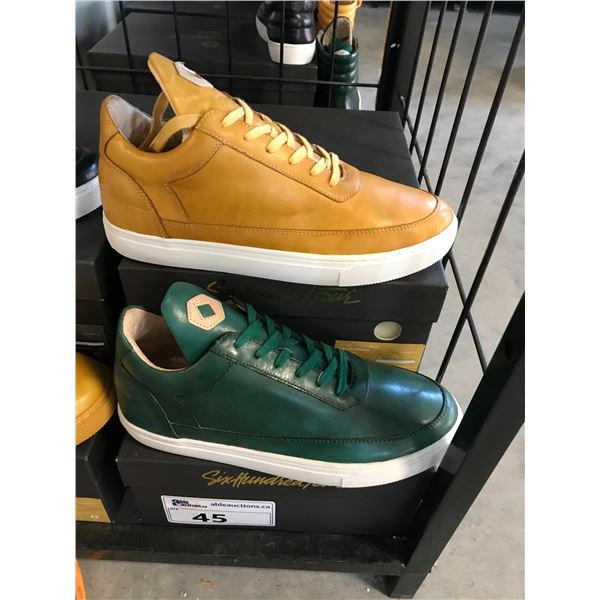 2 SIX HUNDRED FOUR LEATHER UNISEX SHOES SIZE 9 MEN'S IN SMOOTH MIMOSA & SMOOTH IVY $300 RETAIL