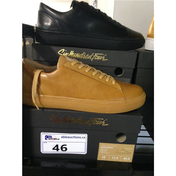 2 SIX HUNDRED FOUR LEATHER UNISEX SHOES SIZE 10 MEN'S IN SMOOTH MIMOSA & SMOOTH RUNWAY $300 RETAIL