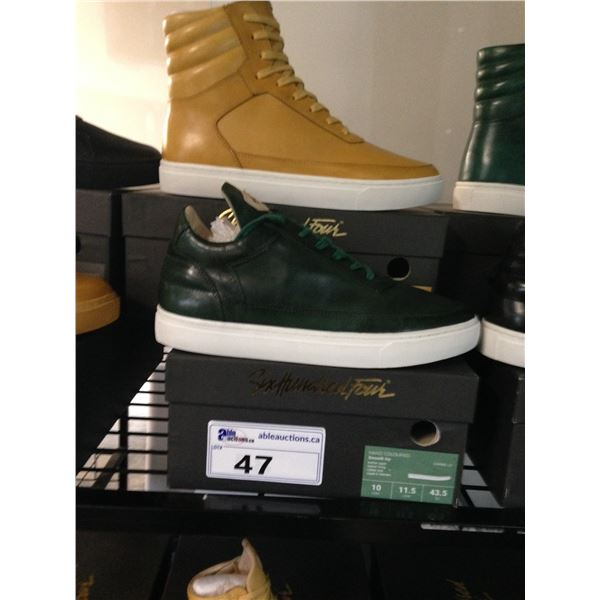 2 SIX HUNDRED FOUR LEATHER UNISEX SHOES SIZE 10 MEN'S IN SMOOTH MIMOSA & SMOOTH IVY $300 AND $350