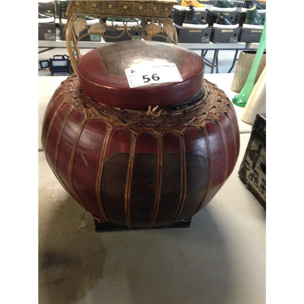 LARGE BURGUNDY HAND PAINTED LIDDED DECOR CONTAINER