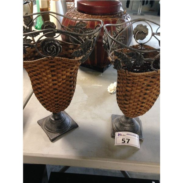 2 WICKER AND METAL URNS IN A FLORAL AND IVY DESIGN