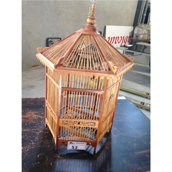 WOODEN BIRDCAGE AND WICKER AND METAL UMBRELLA STAND