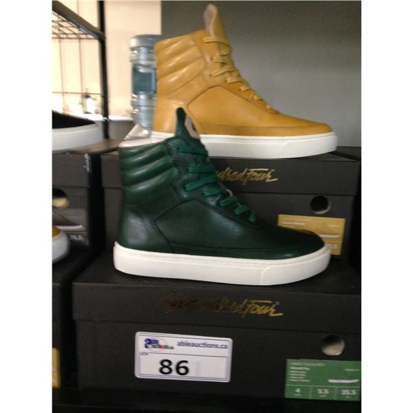 2 SIX HUNDRED FOUR LEATHER UNISEX SHOES SIZE 4 MEN'S IN SMOOTH MIMOSA & SMOOTH IVY $350 RETAIL