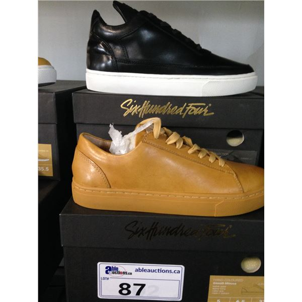 2 SIX HUNDRED FOUR LEATHER UNISEX SHOES SIZE 5 MEN'S IN SMOOTH MIMOSA & SMOOTH RUNWAY $300 RETAIL