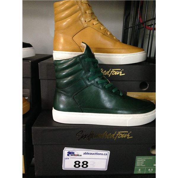 2 SIX HUNDRED FOUR LEATHER UNISEX SHOES SIZE 5 MEN'S IN SMOOTH MIMOSA & SMOOTH IVY $350 RETAIL