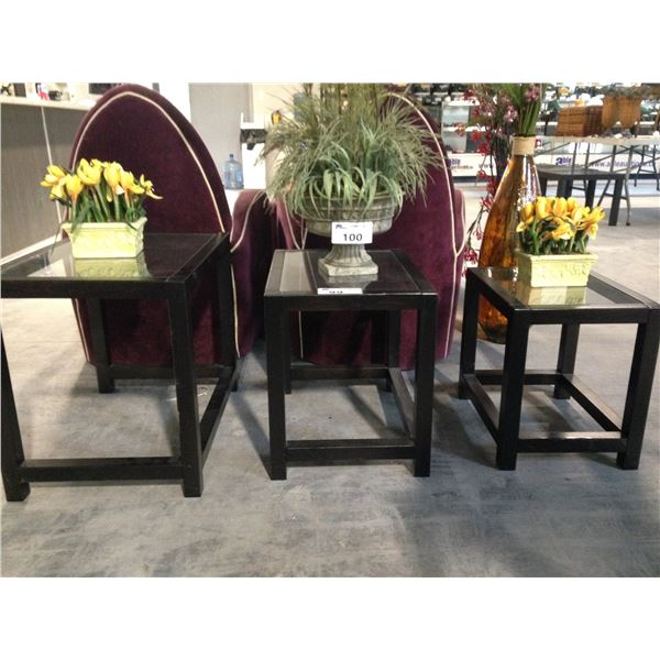 3 WOOD AND GLASS NESTING TABLES