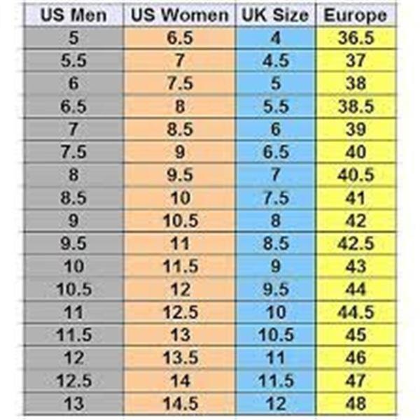 *NOTE - WOMEN'S SHOE SIZE IS MEN'S PLUS 1.5 IE. A MEN'S 5 IS A WOMEN'S 6.5