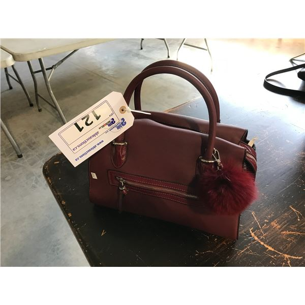 BURGUNDY JOANEL THE BRAND NEW ENGLAND PURSE WITH DECORATIVE PUFF