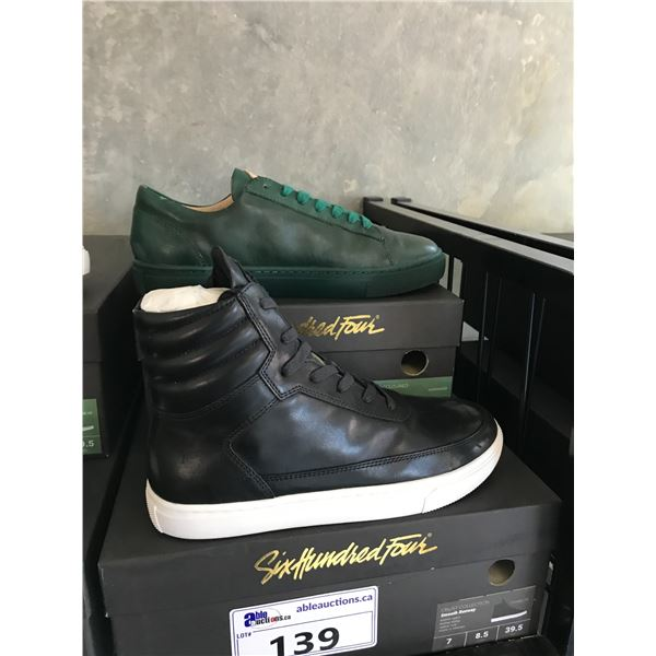 2 SIX HUNDRED FOUR LEATHER UNISEX SHOES SIZE 7 MEN'S IN SMOOTH IVY & SMOOTH RUNWAY $300 AND $350