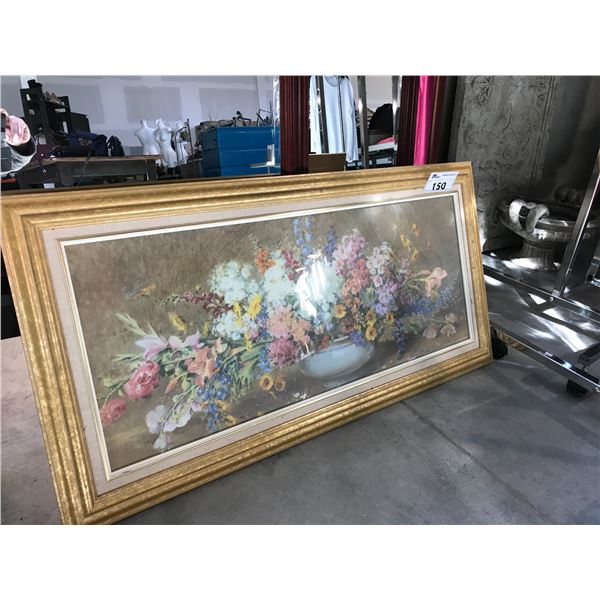 LARGE GOLD FRAMED PRINT OF A FLOWER ARRANGEMENT