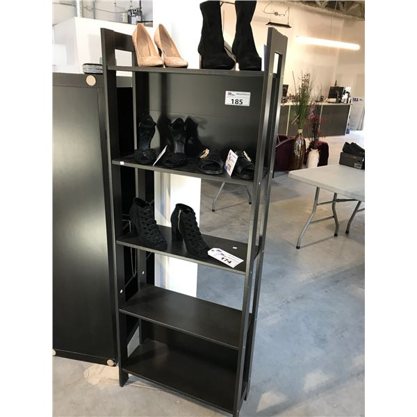 DARK WOOD 5 TIER SHELVING UNIT 5.5'H X 2'W CONTENTS NOT INCLUDED