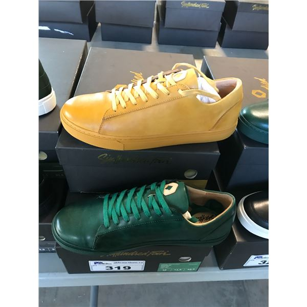 2 SIX HUNDRED FOUR LEATHER UNISEX SHOES SIZE 10 MEN'S IN SMOOTH MIMOSA & SMOOTH IVY $300
