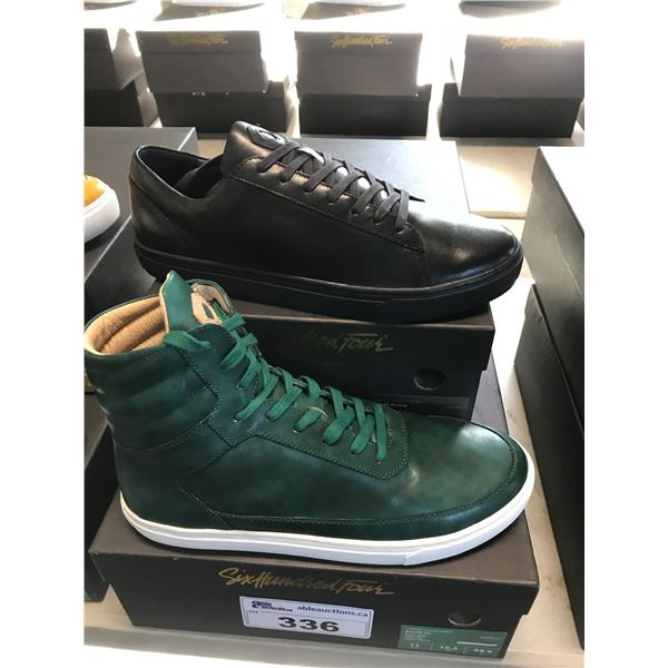 2 SIX HUNDRED FOUR LEATHER UNISEX SHOES SIZE 11 MEN'S IN SMOOTH IVY & SMOOTH RUNWAY $300 AND $350