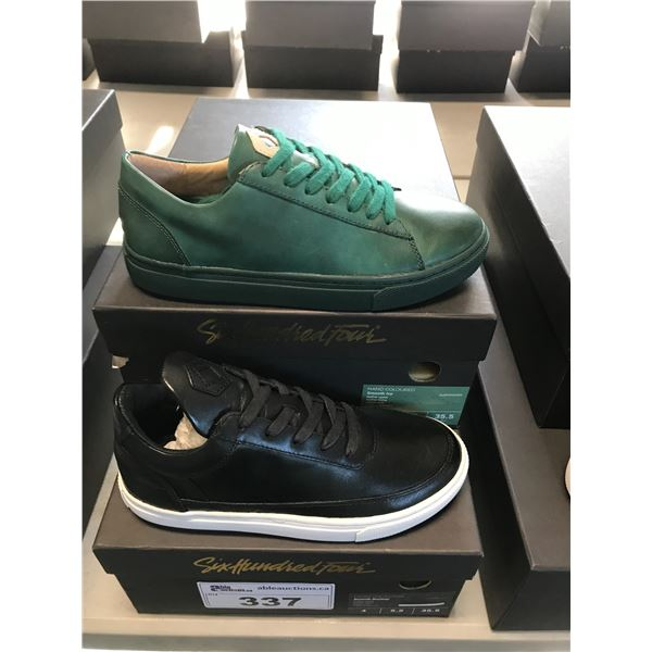 2 SIX HUNDRED FOUR LEATHER UNISEX SHOES SIZE 4 MEN'S IN SMOOTH IVY & SMOOTH RUNWAY $300 RETAIL