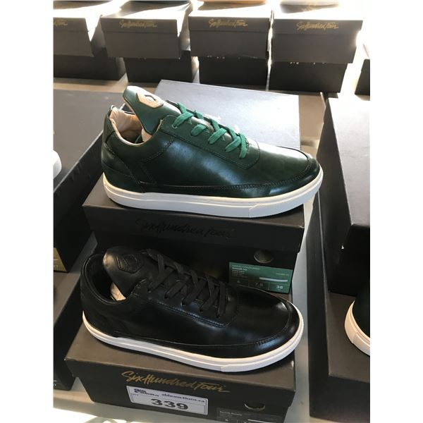2 SIX HUNDRED FOUR LEATHER UNISEX SHOES SIZE 6 MEN'S IN SMOOTH IVY & SMOOTH RUNWAY $300 RETAIL