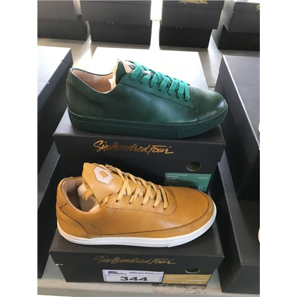 2 SIX HUNDRED FOUR LEATHER UNISEX SHOES SIZE 5 MEN'S IN SMOOTH MIMOSA & SMOOTH IVY $300 RETAIL