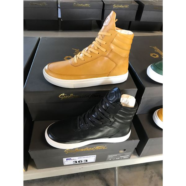 2 SIX HUNDRED FOUR LEATHER UNISEX SHOES SIZE 4 MEN'S IN SMOOTH MIMOSA & SMOOTH RUNWAY $350 RETAIL