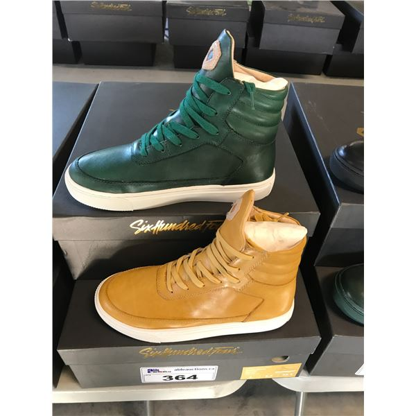 2 SIX HUNDRED FOUR LEATHER UNISEX SHOES SIZE 4 MEN'S IN SMOOTH MIMOSA & SMOOTH IVY $300 RETAIL