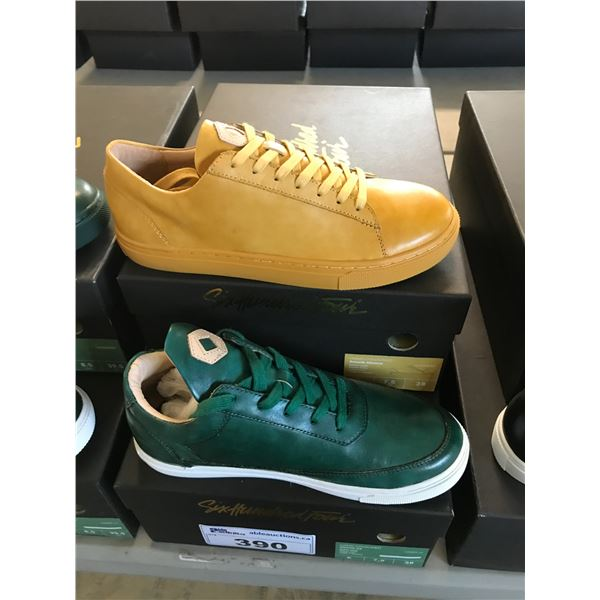 2 SIX HUNDRED FOUR LEATHER UNISEX SHOES SIZE 6 MEN'S IN SMOOTH MIMOSA & SMOOTH IVY $300 RETAIL